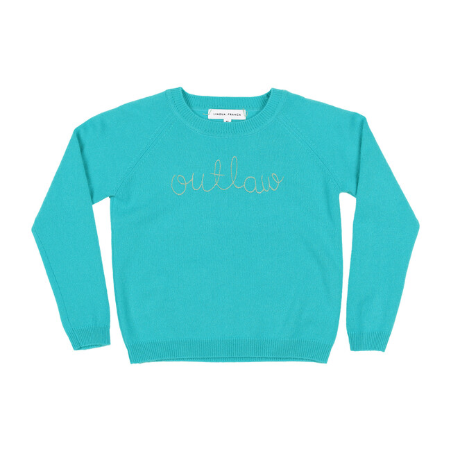"""Teal Crewneck, Mist Embroidered """"outlaw"""""""