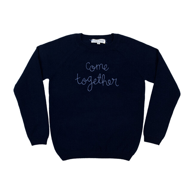 """Navy Crewneck, Cornflower Embroidered""""come together"""""""