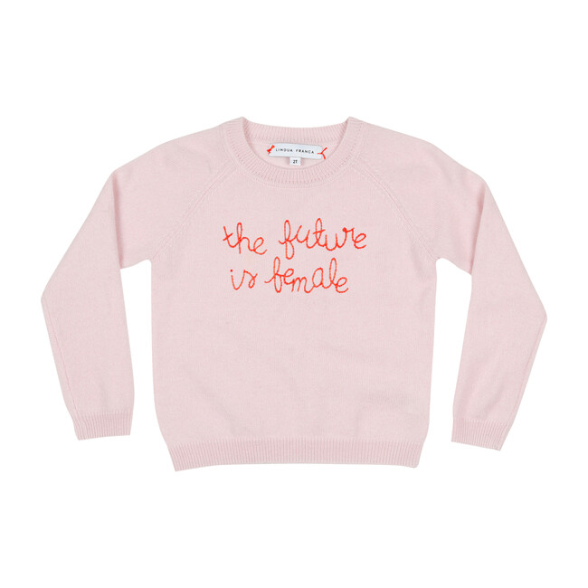 """Blush Crewneck, Red Embroidered """"the future is female"""""""