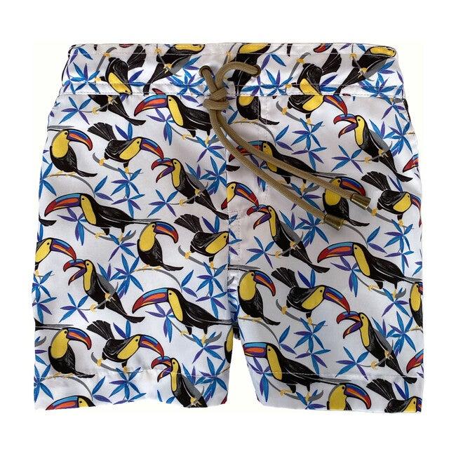 Zeus Toucan Printed Swim Shorts, White