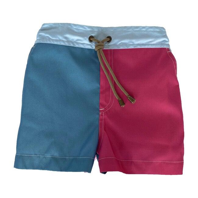 Zeus Color Block Printed Swim Shorts, Multi Pink
