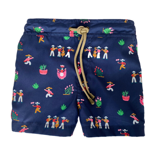 Zeus Fiesta Printed Swim Shorts, Navy