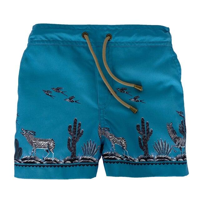 Zeus Coyote Printed Swim Shorts, Blue