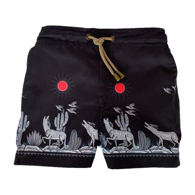 Zeus Coyote Printed Swim Shorts, Black