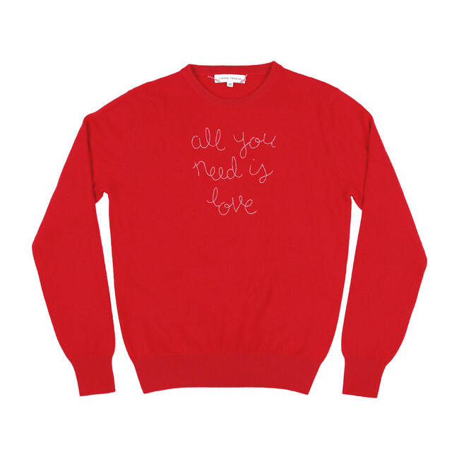"""Womens Red Crewneck, Orchid Embroidered """"all you need is love"""""""