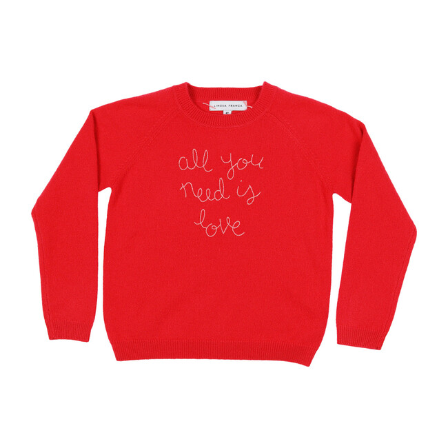 """Red Crewneck, Orchid Embroidered """"all you need is love"""""""
