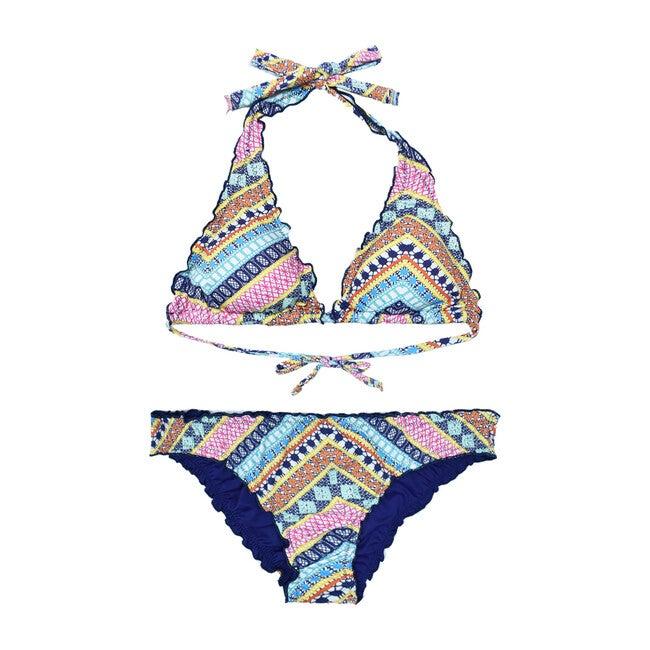 Sienna Bikini Top, Pink and Aqua