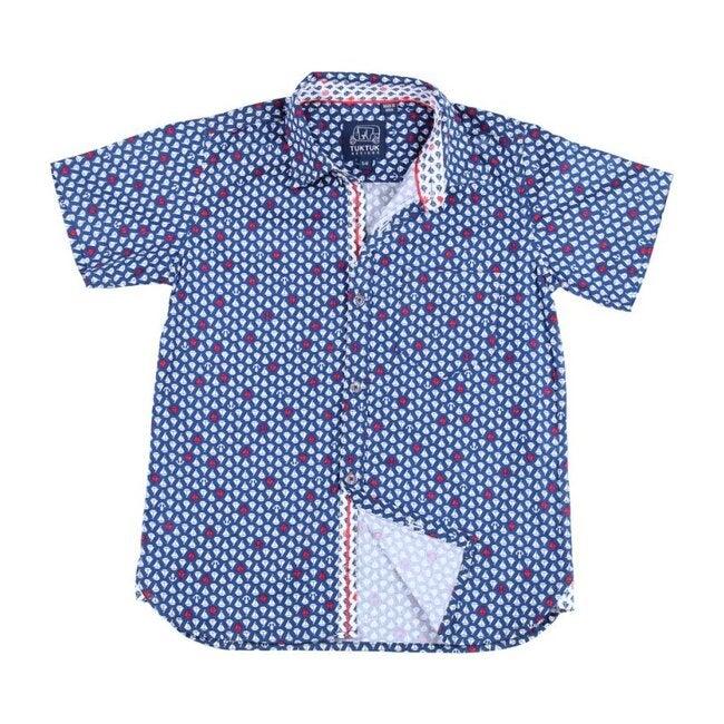 Short Sleeve Siam Sailboat, Blue