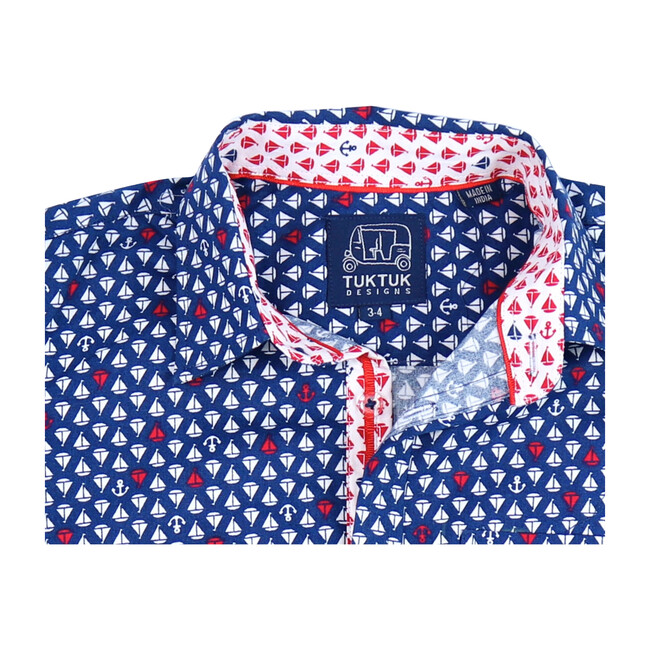 Short Sleeve Siam Sailboats, Ruby Blue