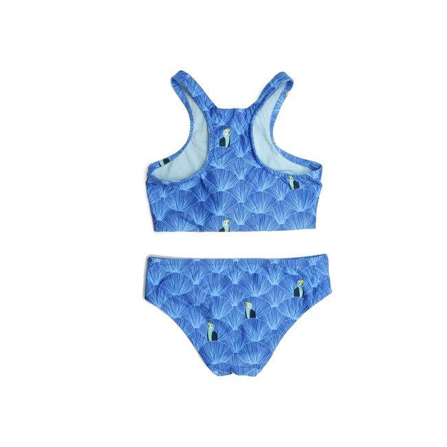 *Exclusive*Girls Zip Back Bikini, Allover Parrot Print