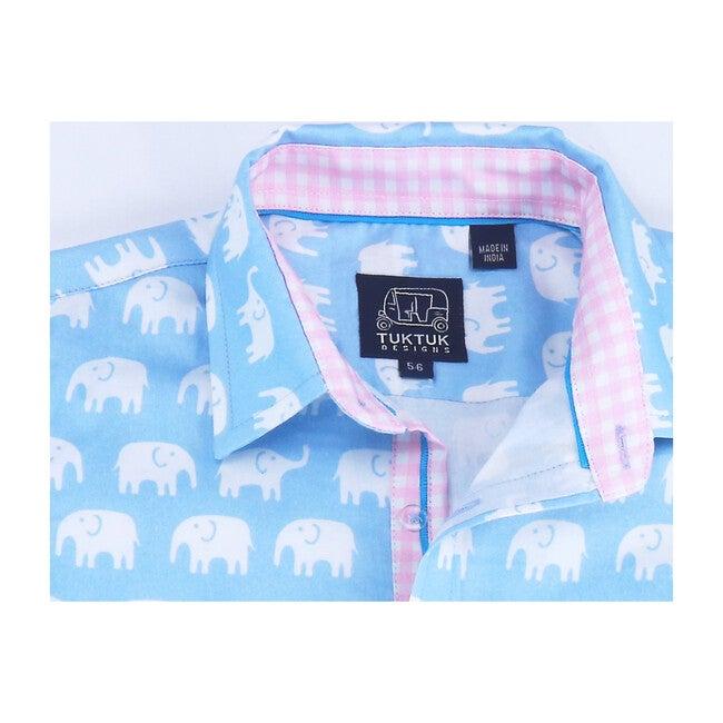 Short Sleeve Erawan Elephants, Pale Blue