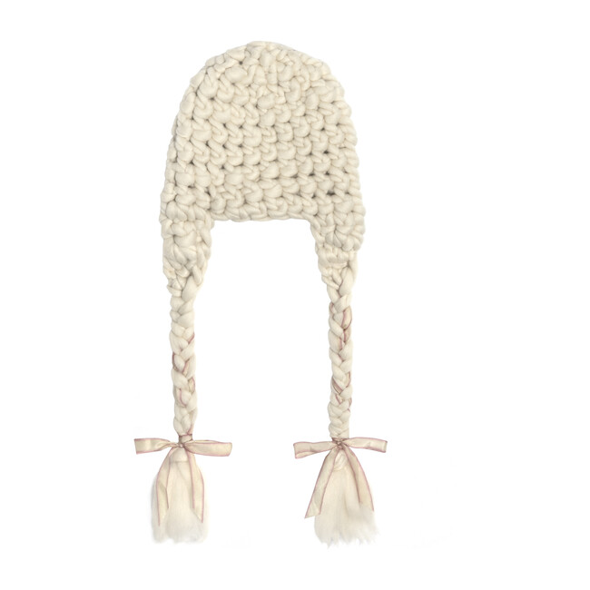 Nolita Braided Ribbon Hat, White & Pink