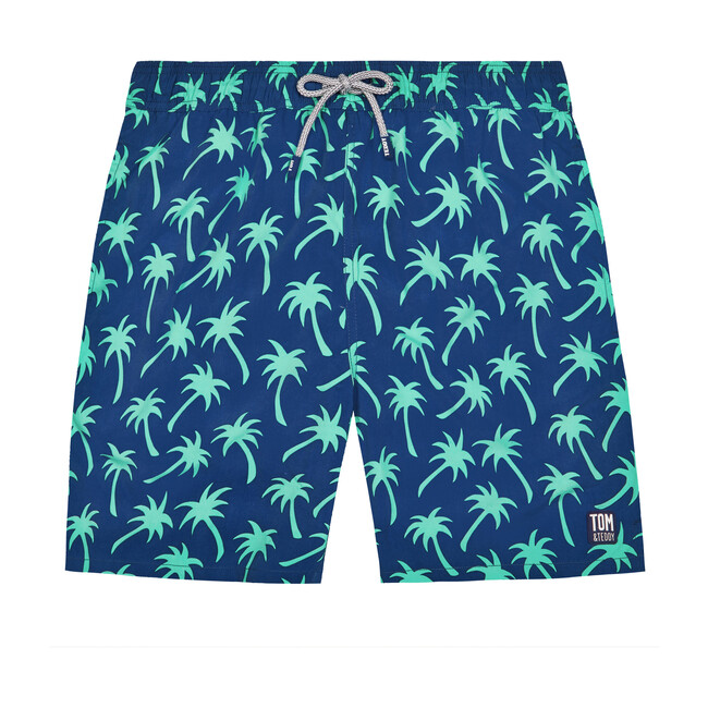Men's Palm Swim Shorts, Navy and Green