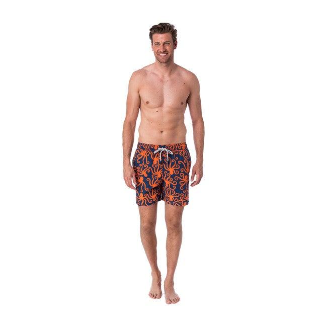 Men's Octopus Swim Shorts, Navy and Orange