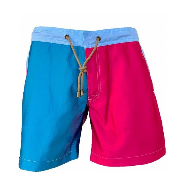 Men's Color Block Titan Fit Swim Trunks, Multi Pink