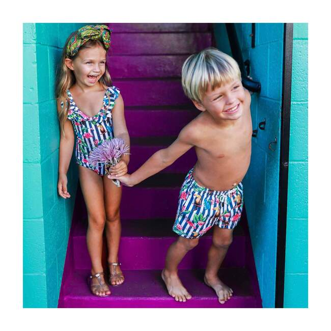 Hoola Girls One Piece Swimsuit, Tropical Navy Stripes