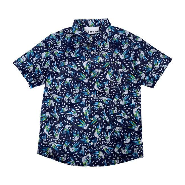 Georgie Birds Printed Cotton Poplin Shirt, Blue