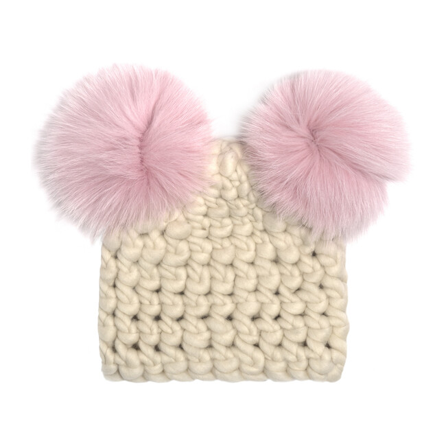 Mickey Pom Hat, White & Pink - Hats - 0