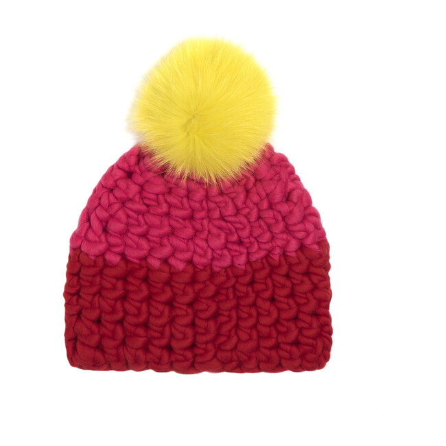 Color Block Hat, Coral & Tomato - Hats - 1