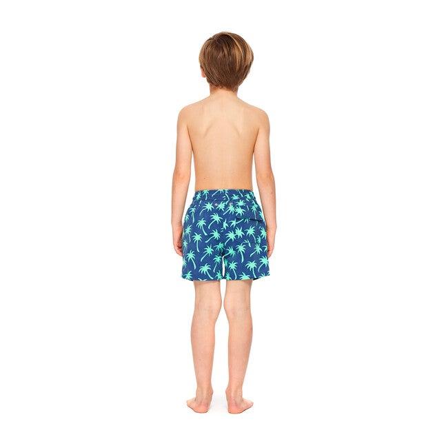 Boys Palm Swim Shorts, Navy and Green