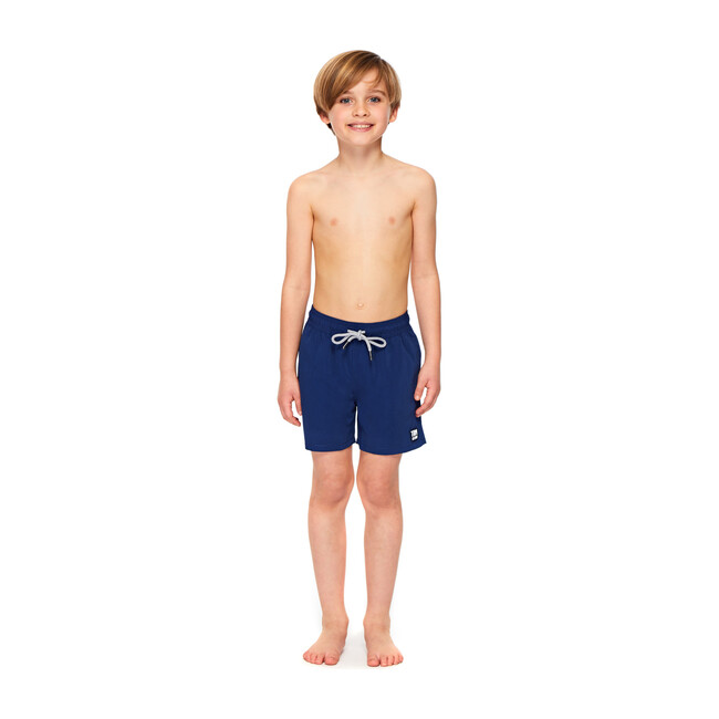 Boy's Solid Swim Shorts, Midnight Blue