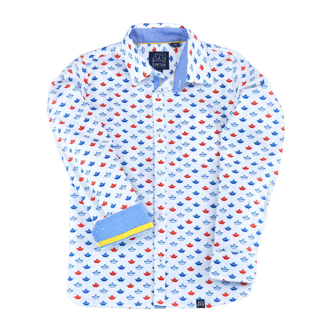 Long Sleeve Origami Boats, Red & Blue