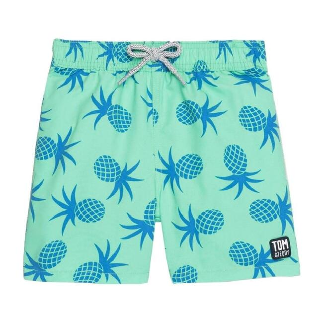 Boy's Pineapple Swim Shorts, Green