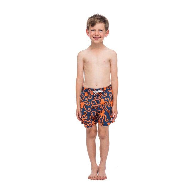 Boy's Octopus Swim Shorts, Navy and Orange