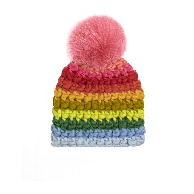 Beanie Stripe Adult Hat, Rainbow - Hats - 0