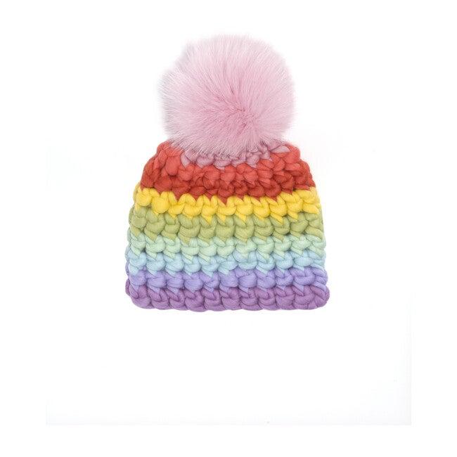 Beanie Stripe Hat, Pastel Rainbow - Hats - 1