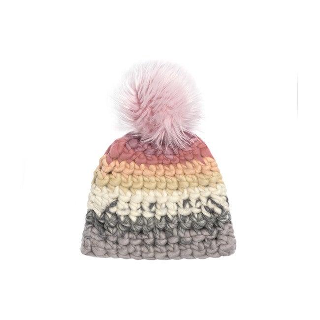 Beanie Stripe Hat, Dusty Rose Faux Pom - Hats - 1