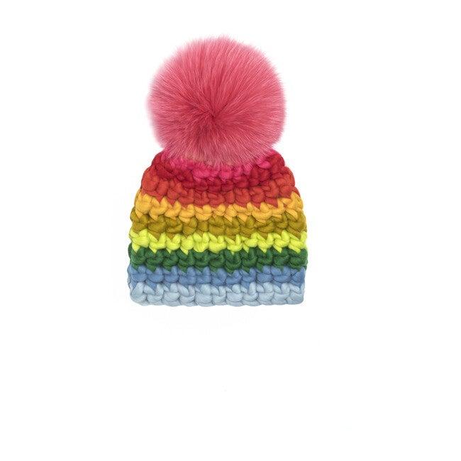 Beanie Stripe Hat, Rainbow - Hats - 1