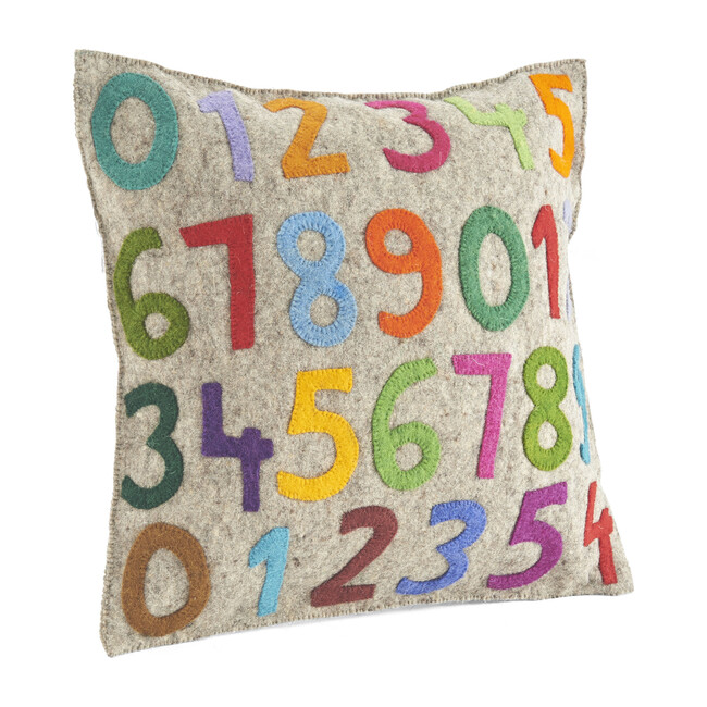 Hand Felted Wool Cushion Cover, 123's