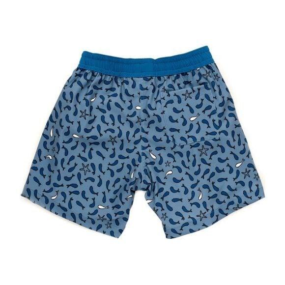 Tommaso Swimshort, Dusty Blue Fish Print