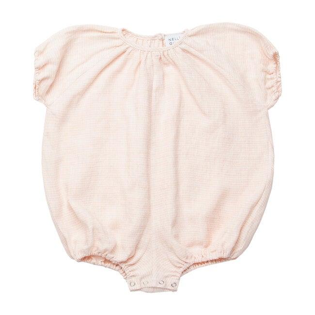 Linen Mother May I Romper, Pale Pink Stripe