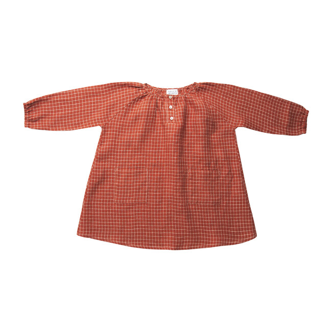 Mother May I Dress, Rust Check Linen