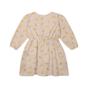 Handprint Woven Dress, Beige