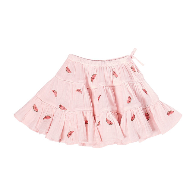 Allie Skirt, Chalk Pink & Watermelons Embroidery