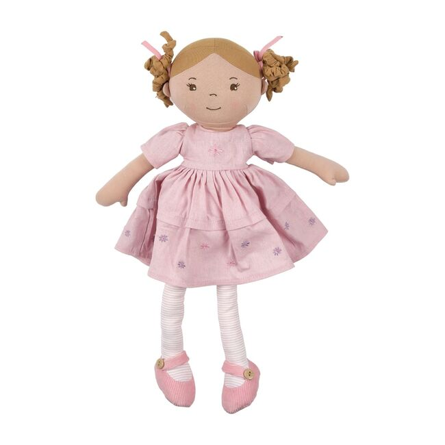 Amelia Doll with Light Brown Hair in Pink Linen Dress