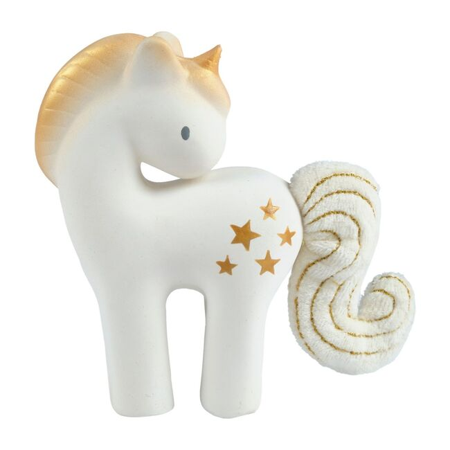 Shining Stars Unicorn Natural Rubber Rattle with Crinkle Tail