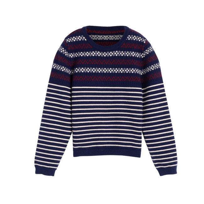 Blair Fairisle Stripe Sweater, Navy Multi
