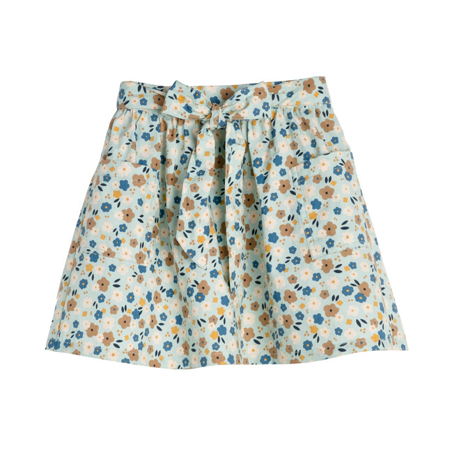 Willow Bow Skirt, Blue Graphic Flower