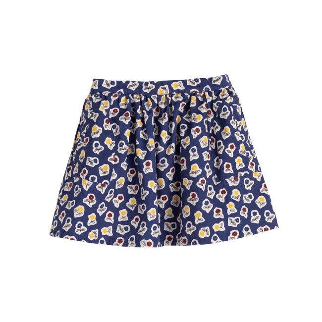 Cassie Skirt, Blue Cut Out Flowers
