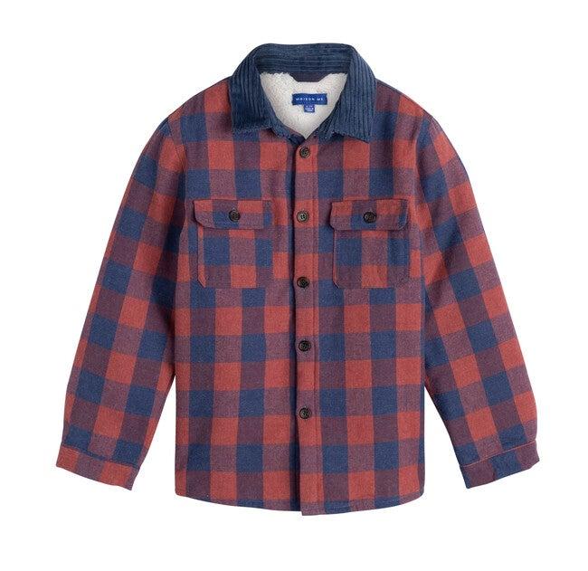 Sam Sherpa Shirt, Dusty Red & Blue