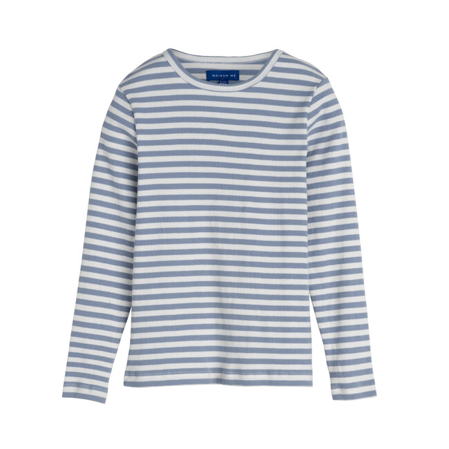 Ruby Ribbed Long Sleeve, Dusty Blue Stripe