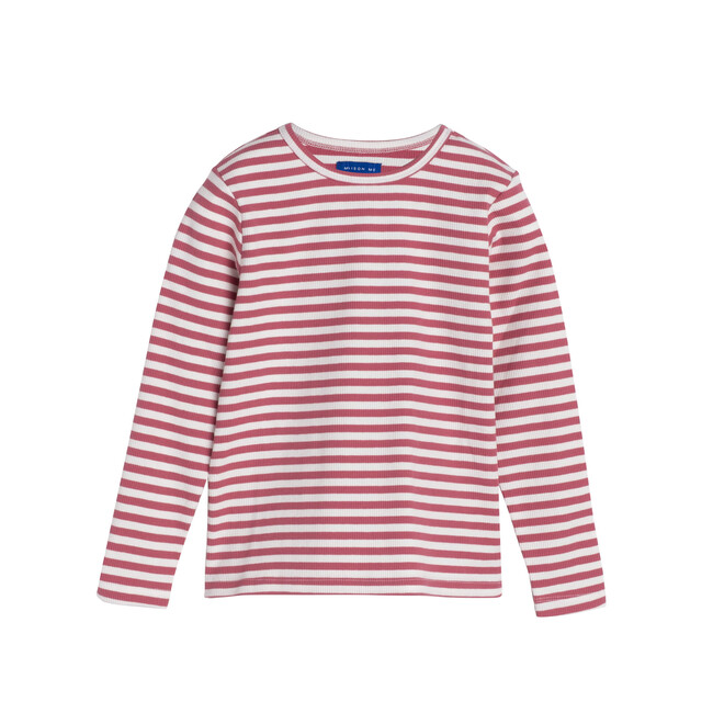 Ruby Ribbed Long Sleeve, Darker Dusty Rose Stripe