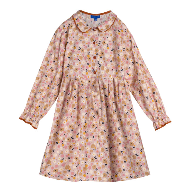 Emma Long Sleeve Collared Dress, Pink Graphic Flower
