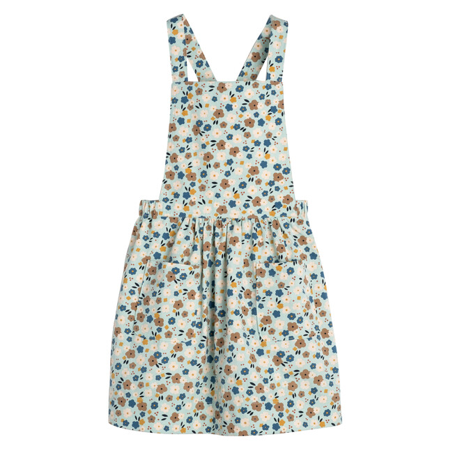 Millie Pinafore Dress, Blue Graphic Flower