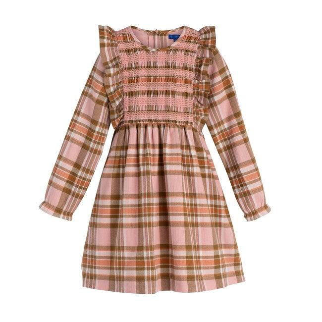 Alexandra Smocked Dress, Pink Multi Check