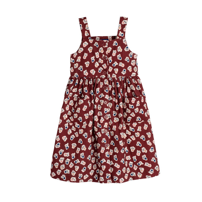 Olympia Button Front Dress, Barn Red Cut Out Flowers